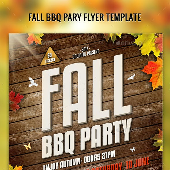 Fall Barbecue BBQ Party Flyer