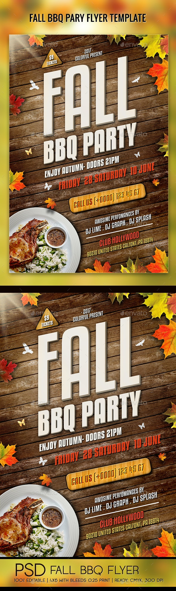 Fall Barbecue BBQ Party Flyer - Holidays Events