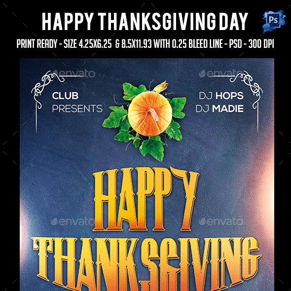 Thanks Giving Day Party Flyer