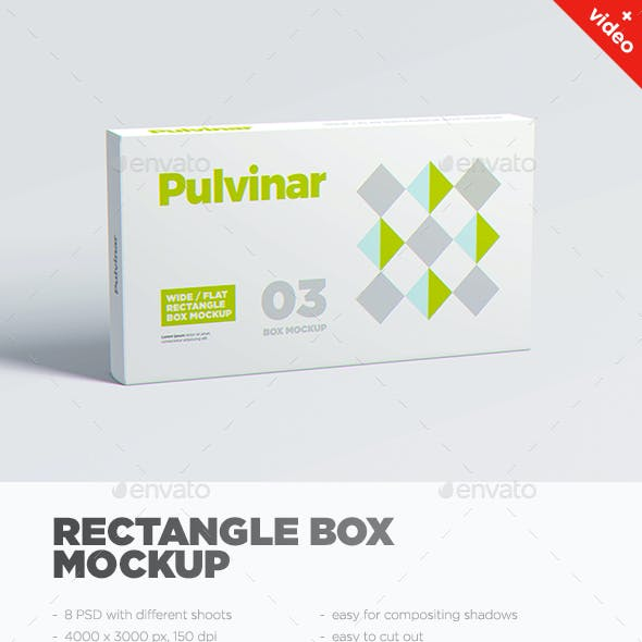 Box / Packaging MockUp - Wide/ Flat Rectangle