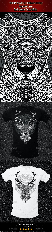 Zentangle Deer Illustration - Clean Designs