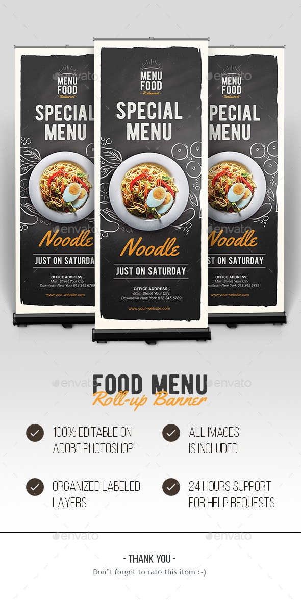 Food Roll-up Banner - Signage Print Templates