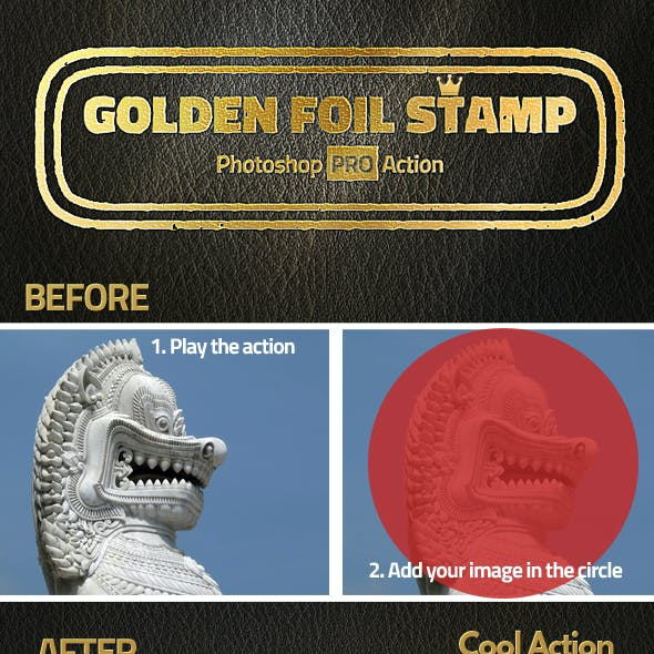 Gold Foil Stamp Photoshop Action