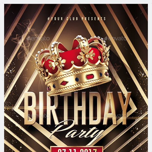 Gold Birthday | Kings Flyer Template