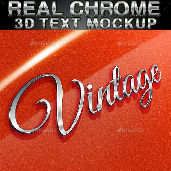 Real chrome 3D Text Mock-up