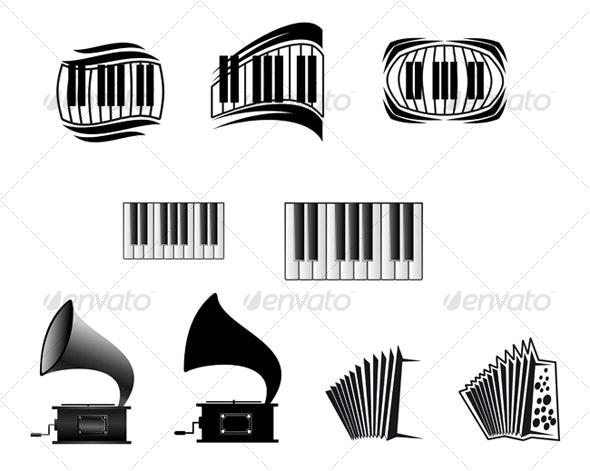 Music icons and symbols - Decorative Vectors