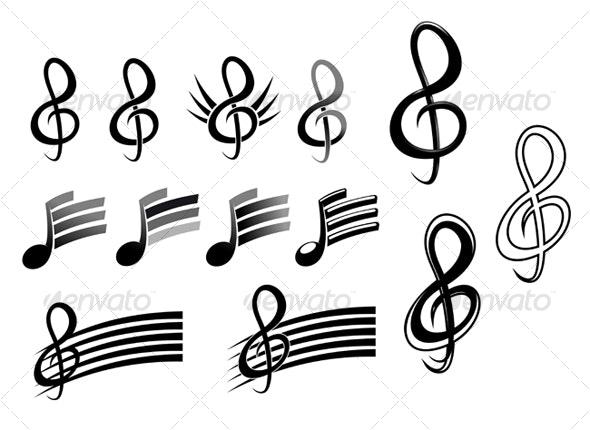 Music keys and notes - Decorative Vectors