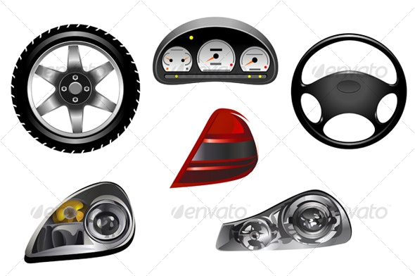 Isolated details of car - Objects Vectors