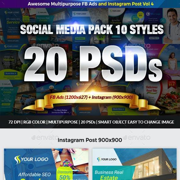 10 Multipurpose Instagram and FB Ads Vol 4