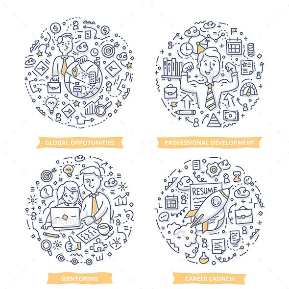 Career & Leadership Doodle Illustrations