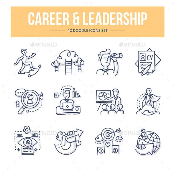 Career & Leadership Doodle Icons