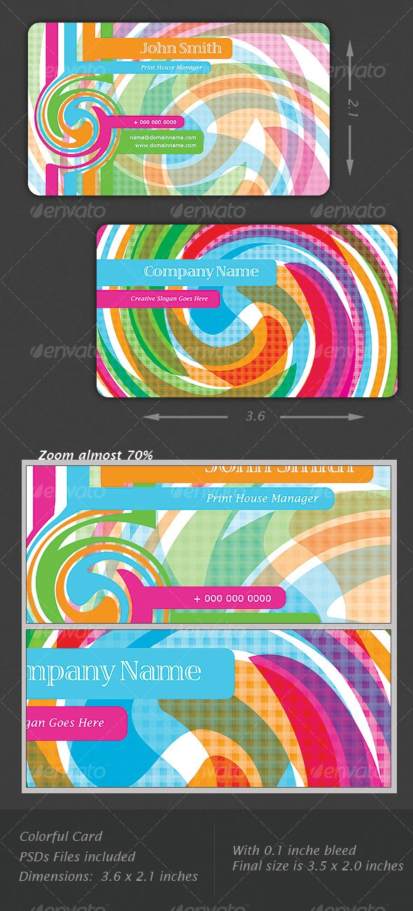 Colorful Delightful Card - Business Cards Print Templates