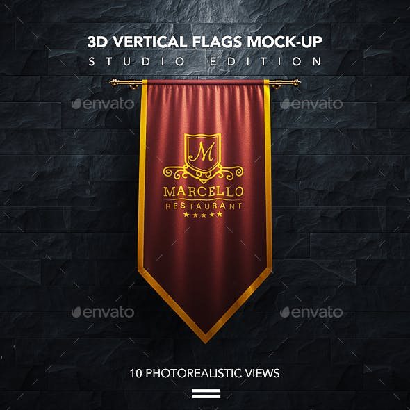 10 Realistic 3D Vertical Flags Mock-Up (Studio Edition)