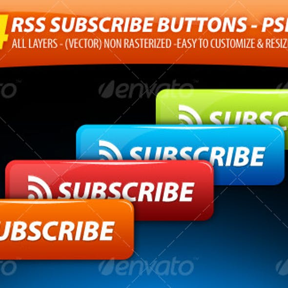 4 Clean'n' GLossy - RSS Subscribe Buttons Pack