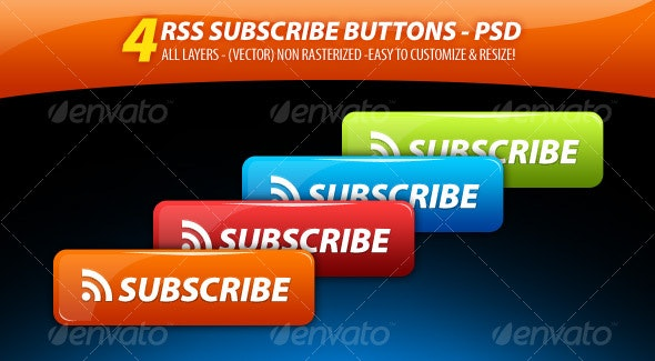 4 Clean'n' GLossy - RSS Subscribe Buttons Pack - Buttons Web Elements