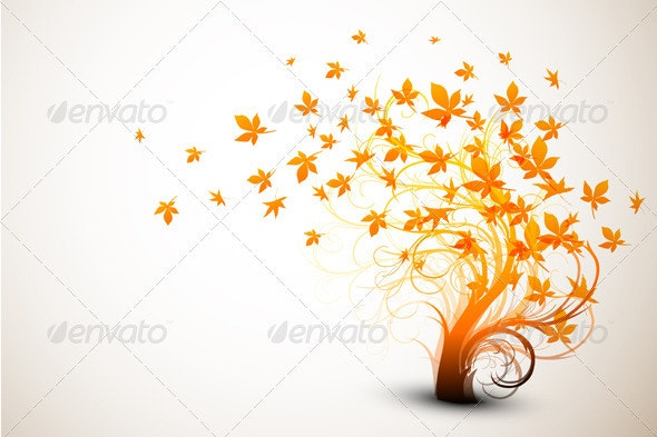 Autumn Tree | Clean Vector Composition - Backgrounds Decorative