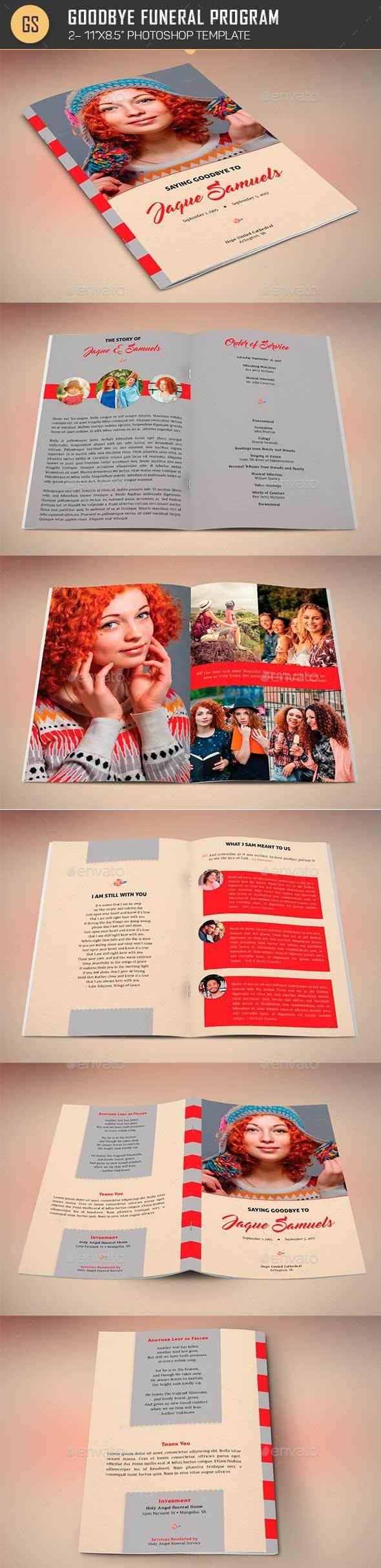 Goodbye Funeral Program Template - Informational Brochures