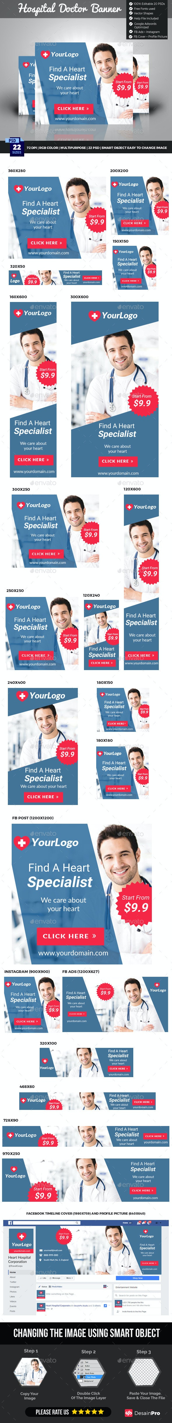 Hospital Doctor Banner - Banners & Ads Web Elements