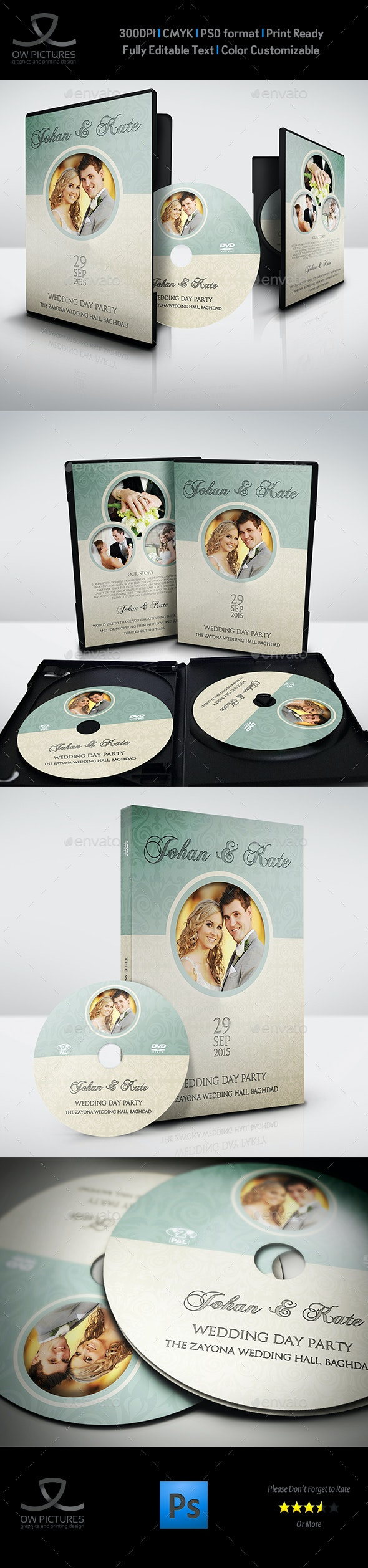 Wedding DVD Cover and DVD Label Template Vol.8 - CD & DVD Artwork Print Templates