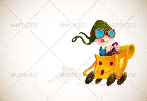 Cute Boy Racing his School Backpack - Characters Vectors