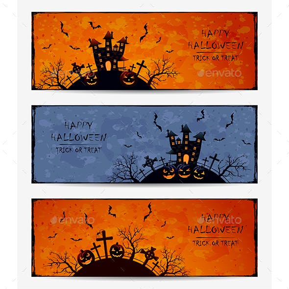 Set of Grunge Halloween Banners