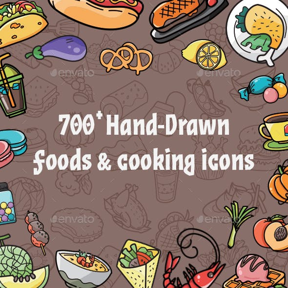 700 Food Cooking Hand Drawn Icons