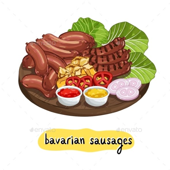 Assorted Delicious Grilled Sausage