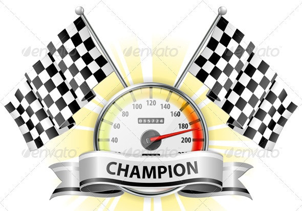 Speedometer with Flags and Ribbons - Sports/Activity Conceptual