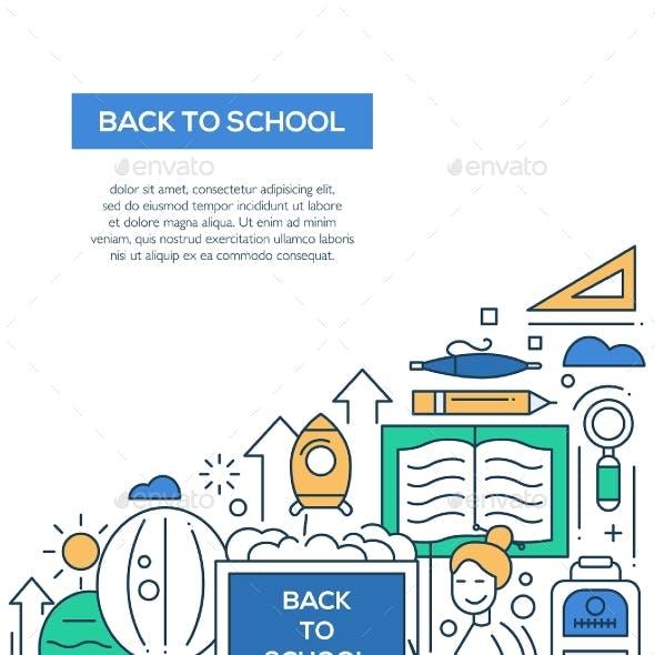 Back To School - Line Design Brochure Poster