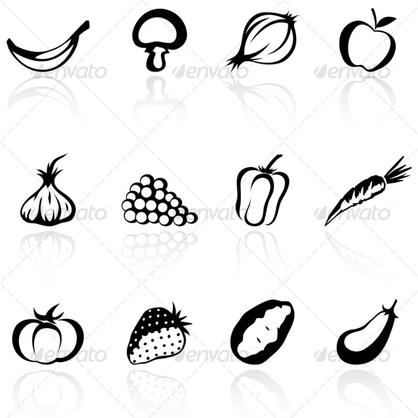 fruit and vegetable silhouettes - Food Objects