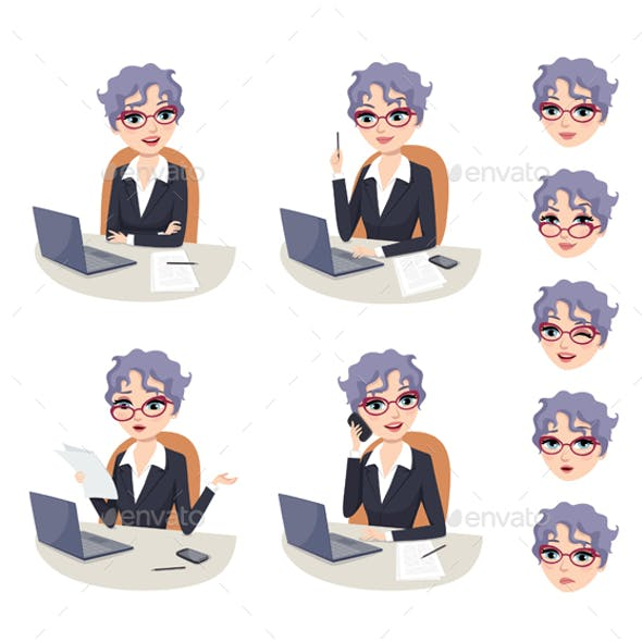 Senior Businesswoman Character Set
