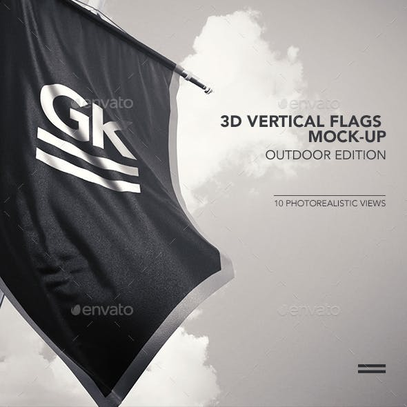 10 Realistic 3D Vertical Flags Mock-Up (Outdoor Edition)