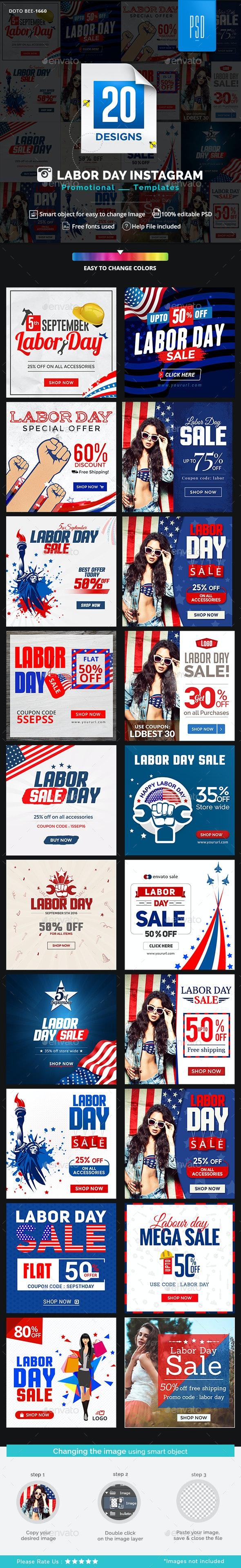 Labor Day Instagram Templates - 20 designs - Miscellaneous Social Media