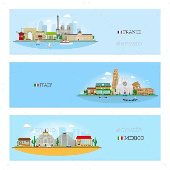 France, Italy And Mexico Skyline