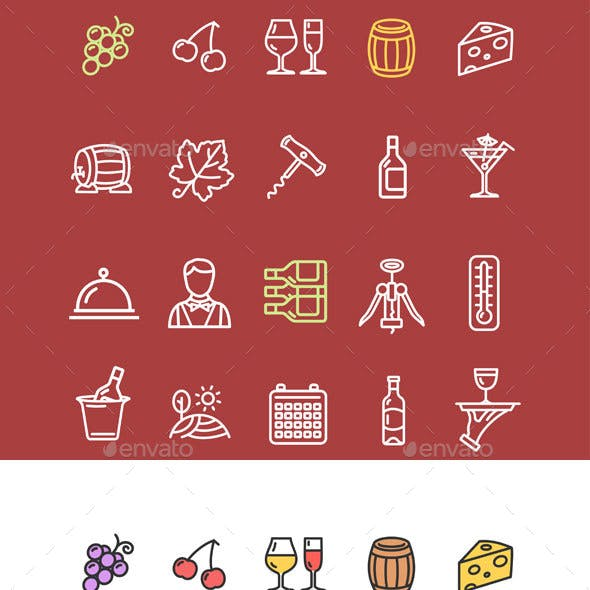 Wine Making Drink Icon Set