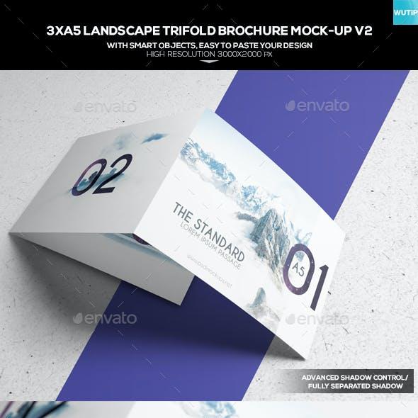 3xA5 Landscape Trifold Brochure Mock-up