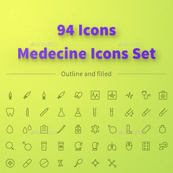 MEDICINE icons set. 94 outline and filled icons