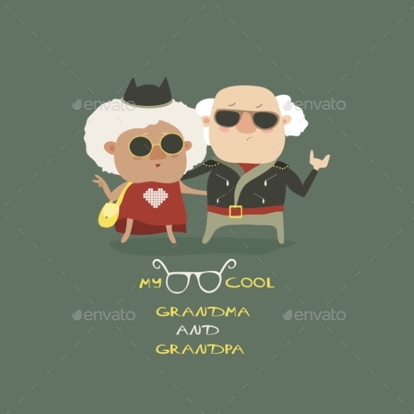 Cool Grandma And Grandpa Wearing In Leather Jacket - People Characters