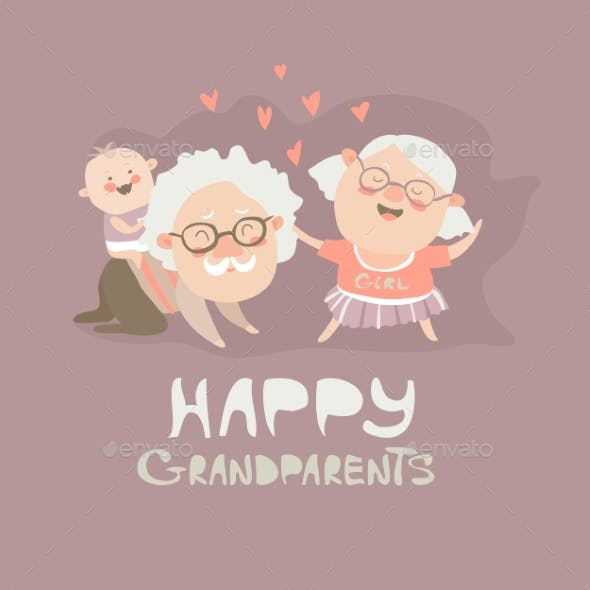 Happy Grandparents Playing With Their Grandson