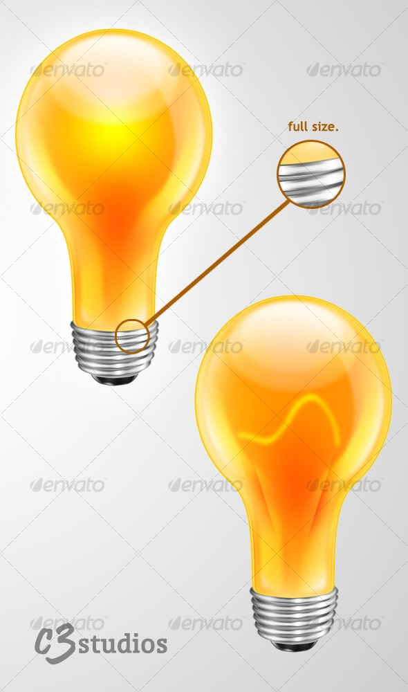 Ultra High Res. Glossy Light bulb icon/logo/design - Objects Illustrations