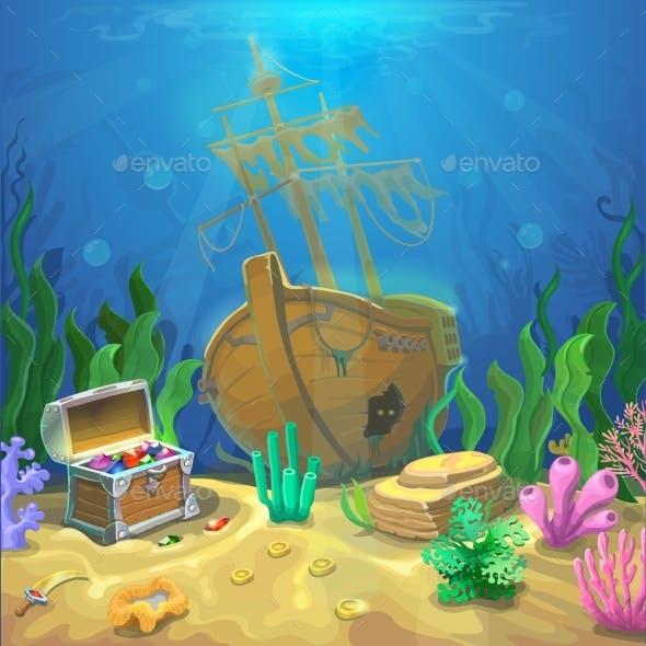 Underwater Landscape. The Ocean, Undersea World