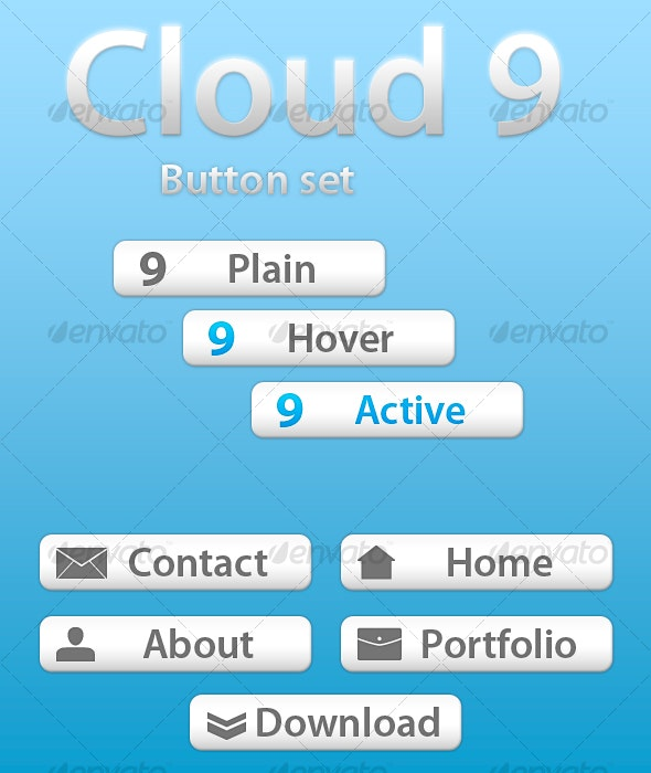 Cloud 9 Button Set - Buttons Web Elements