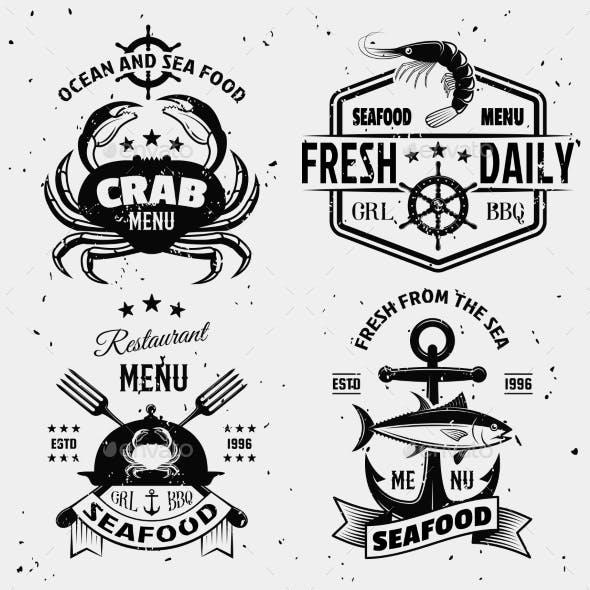 Seafood Menu Monochrome Emblems