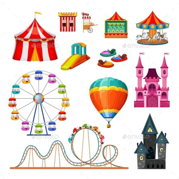 Amusement Park Colorful Objects Set - Industries Business