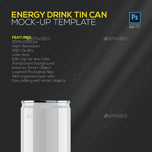 Energy Drink Tin Can Mock-up Template
