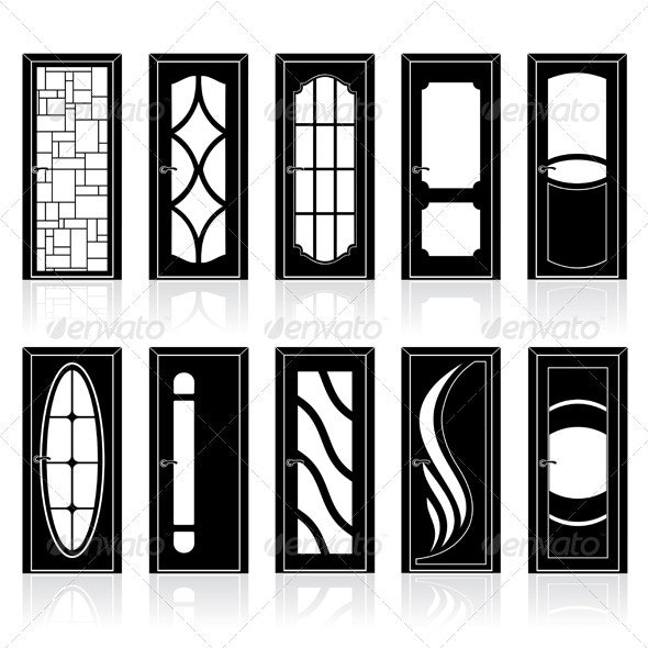Collection of Classic Doors Silhouettes - Buildings Objects