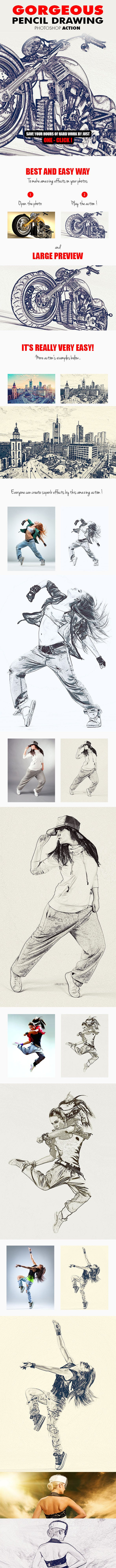 Gorgeous pencil drawing v 1 photoshop action photo effects actions