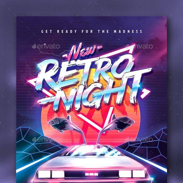 80`s New Retro Night Party Flyer