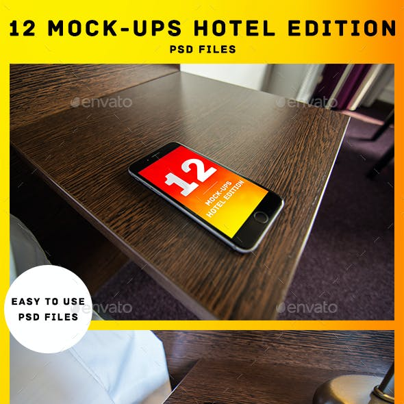 PSD: 12 High-res Phone 6 Mock-up: Hotel Edition