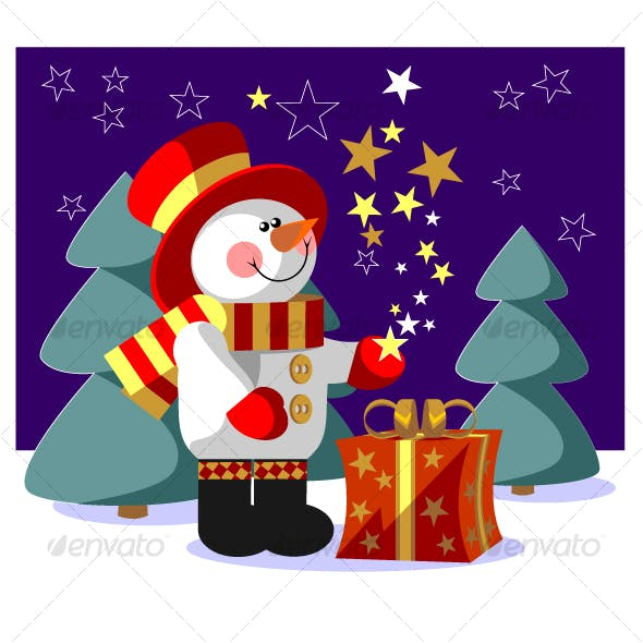 Snowman  with gift in color 05